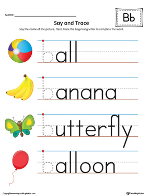 Say and Trace: Letter B Beginning Sound Words in Color ...