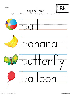 Use the Say and Trace: Letter B Beginning Sound Words in Color to help your preschooler practice recognizing the beginning sound of the letter B and tracing the letter.