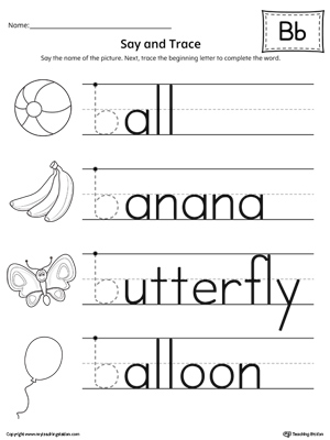 say and trace letter b beginning sound words. Black Bedroom Furniture Sets. Home Design Ideas