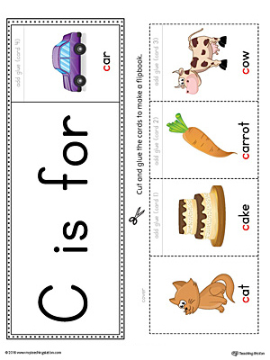 Letter C Beginning Sound Flipbook Printable (Color)