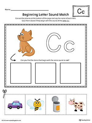 Letter C Beginning Sound Picture Match Worksheet (Color)