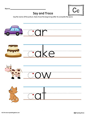Say and Trace: Letter C Beginning Sound Words Worksheet (Color)