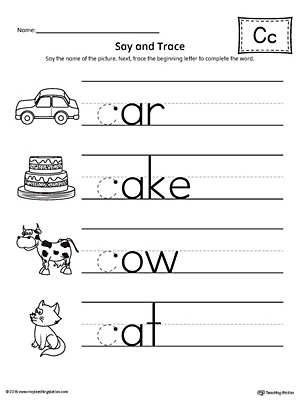 Say And Trace Letter C Beginning Sound Words Worksheet Myteachingstation Com