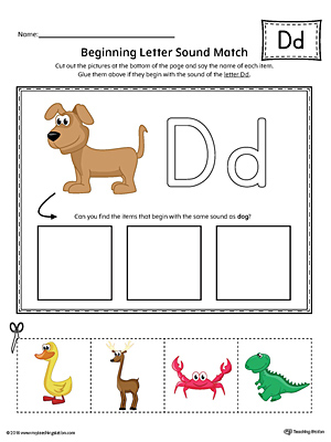 Letter D Beginning Sound Picture Match Worksheet (Color)