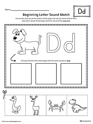 Letter D Beginning Sound Picture Match Worksheet