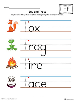 Say and Trace: Letter F Beginning Sound Words Worksheet (Color)