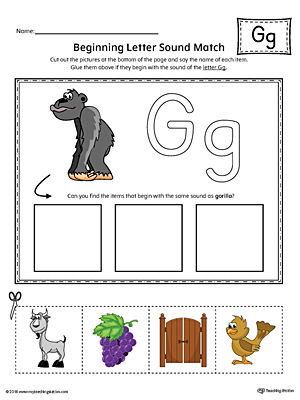 Letter G Beginning Sound Picture Match Worksheet (Color)