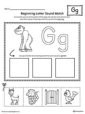 letter g beginning sound picture match worksheet. Black Bedroom Furniture Sets. Home Design Ideas