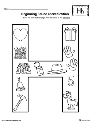 Letter H Beginning Sound Color Pictures Worksheet