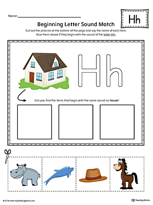 Letter H Beginning Sound Picture Match Worksheet (Color)