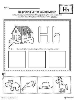 letter h beginning sound picture match worksheet. Black Bedroom Furniture Sets. Home Design Ideas