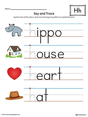 Say and Trace: Letter H Beginning Sound Words Worksheet (Color)