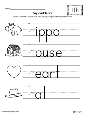 say and trace letter h beginning sound words worksheet. Black Bedroom Furniture Sets. Home Design Ideas