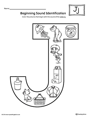 Letter J Beginning Sound Color Pictures Worksheet