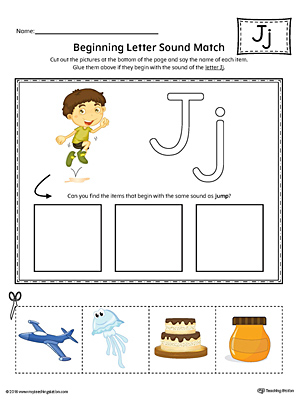 Letter J Beginning Sound Picture Match Worksheet (Color)