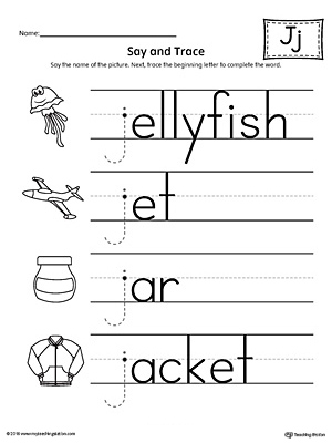 say and trace letter j beginning sound words worksheet
