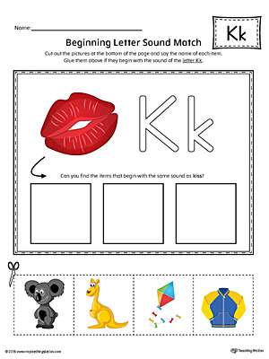 Letter K Beginning Sound Picture Match Worksheet (Color)