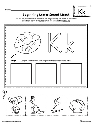 Letter K Beginning Sound Picture Match Worksheet