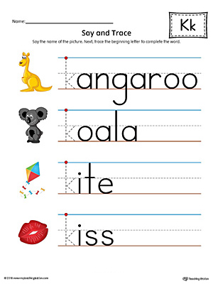 Say and Trace: Letter K Beginning Sound Words Worksheet (Color)