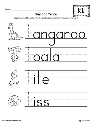 Say and Trace: Letter K Beginning Sound Words Worksheet