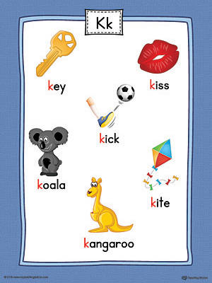 Letter K Word List with Illustrations Printable Poster (Color)