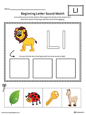 Letter L Beginning Sound Picture Match Worksheet (Color)