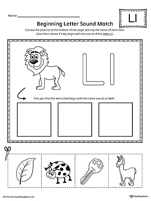 Letter L Beginning Sound Picture Match Worksheet