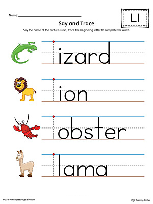 Say and Trace: Letter L Beginning Sound Words Worksheet (Color)