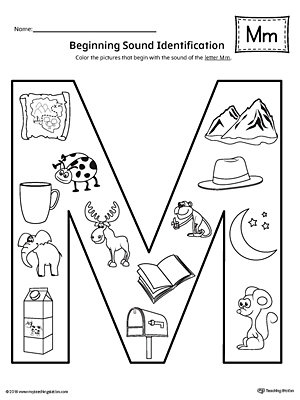 letter m beginning sound color pictures worksheet. Black Bedroom Furniture Sets. Home Design Ideas