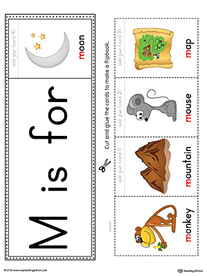Letter M Beginning Sound Flipbook Printable (Color)