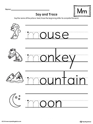 say and trace letter m beginning sound words worksheet. Black Bedroom Furniture Sets. Home Design Ideas