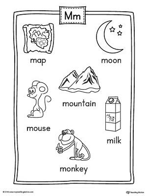 letter m word list with illustrations printable poster. Black Bedroom Furniture Sets. Home Design Ideas