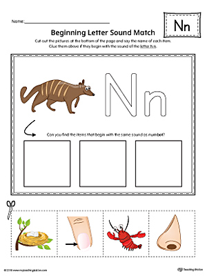 Letter N Beginning Sound Picture Match Worksheet (Color)