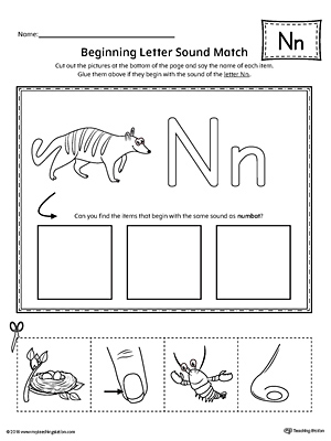 Letter N Beginning Sound Picture Match Worksheet Myteachingstation Com