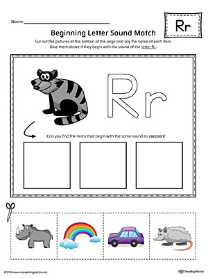 Letter R Beginning Sound Picture Match Worksheet (Color)