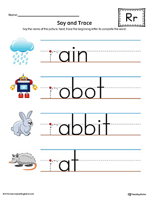 Say and Trace: Letter R Beginning Sound Words Worksheet (Color)
