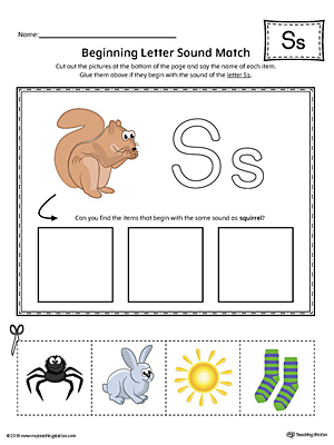 Letter S Beginning Sound Picture Match Worksheet (Color)