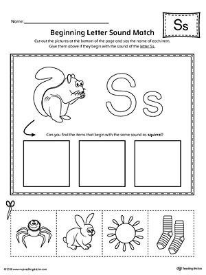Letter S Beginning Sound Picture Match Worksheet