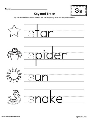 Say and Trace: Letter S Beginning Sound Words Worksheet ...