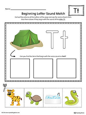 Letter T Beginning Sound Picture Match Worksheet (Color)