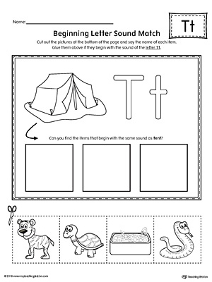 Letter T Beginning Sound Picture Match Worksheet