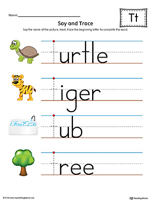 Say and Trace: Letter T Beginning Sound Words Worksheet (Color)