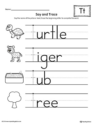 Say and Trace: Letter T Beginning Sound Words Worksheet