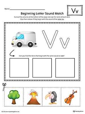 Practice matching pictures that begin with the letter V sound with the correct letter shape in this printable worksheet.