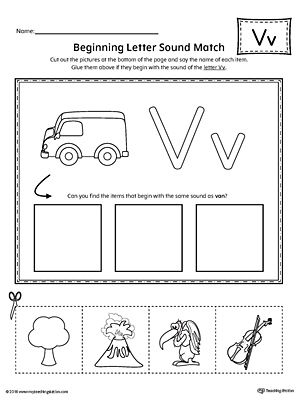 Letter V Beginning Sound Picture Match Worksheet