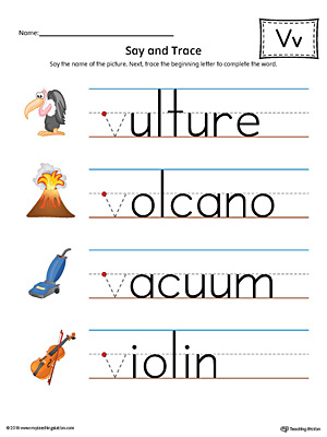 Say and Trace: Letter V Beginning Sound Words Worksheet (Color)