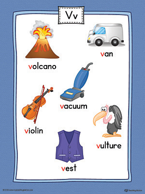 words with the letter v letter v word list with illustrations printable poster 1741