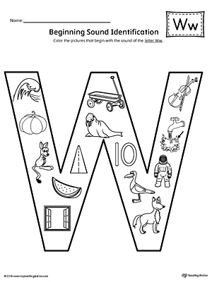 Letter W Beginning Sound Color Pictures Worksheet