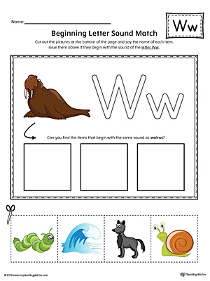 Letter W Beginning Sound Picture Match Worksheet Color on writing printable kindergarten worksheets