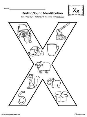 Letter X Ending Sound Color Pictures Worksheet | MyTeachingStation.com